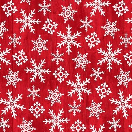 F5702S-80 45'' Studio E Red Snowflake Flannel