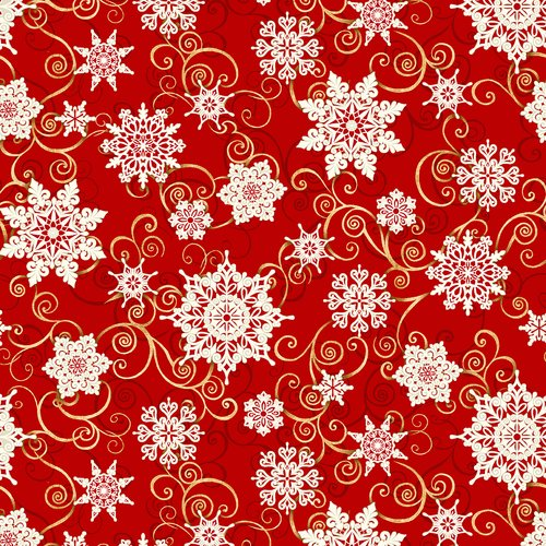 5732-88 108'' Studio E Red Falling Snowflakes Wide Backing