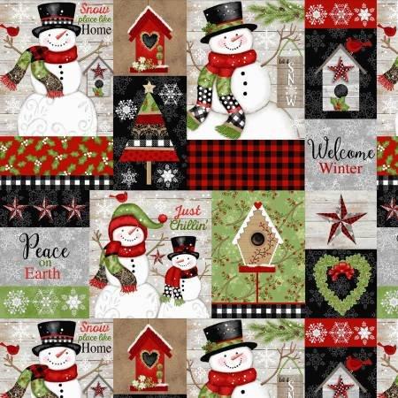 F5701S-98 45'' Studio E Snow Place Patch Flannel