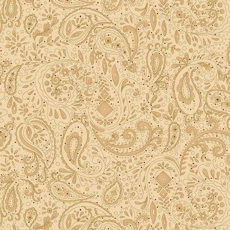 0891-44 108'' Henry Glass & Co. Beige Paisley Tiny Dot Wide Backing by Kim Dehl