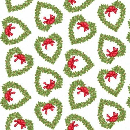 F5709S-06 45'' Studio E White Wreath Flannel