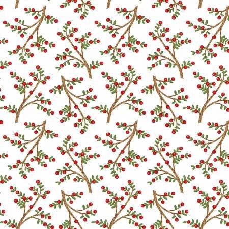 F5712S-08 45'' Studio E White Sprigs Flannel