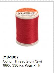 Cotton Thread 2-ply 12wt 660d 330yds Petal Pink