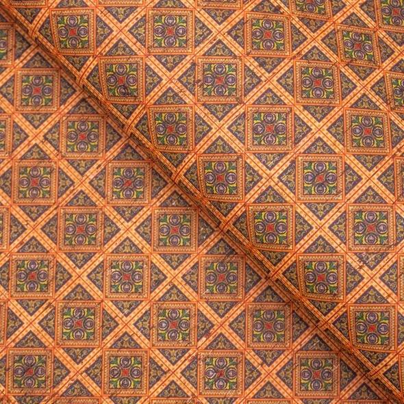 Orange square ceramic tile mosaic pattern cork fabric COF-260