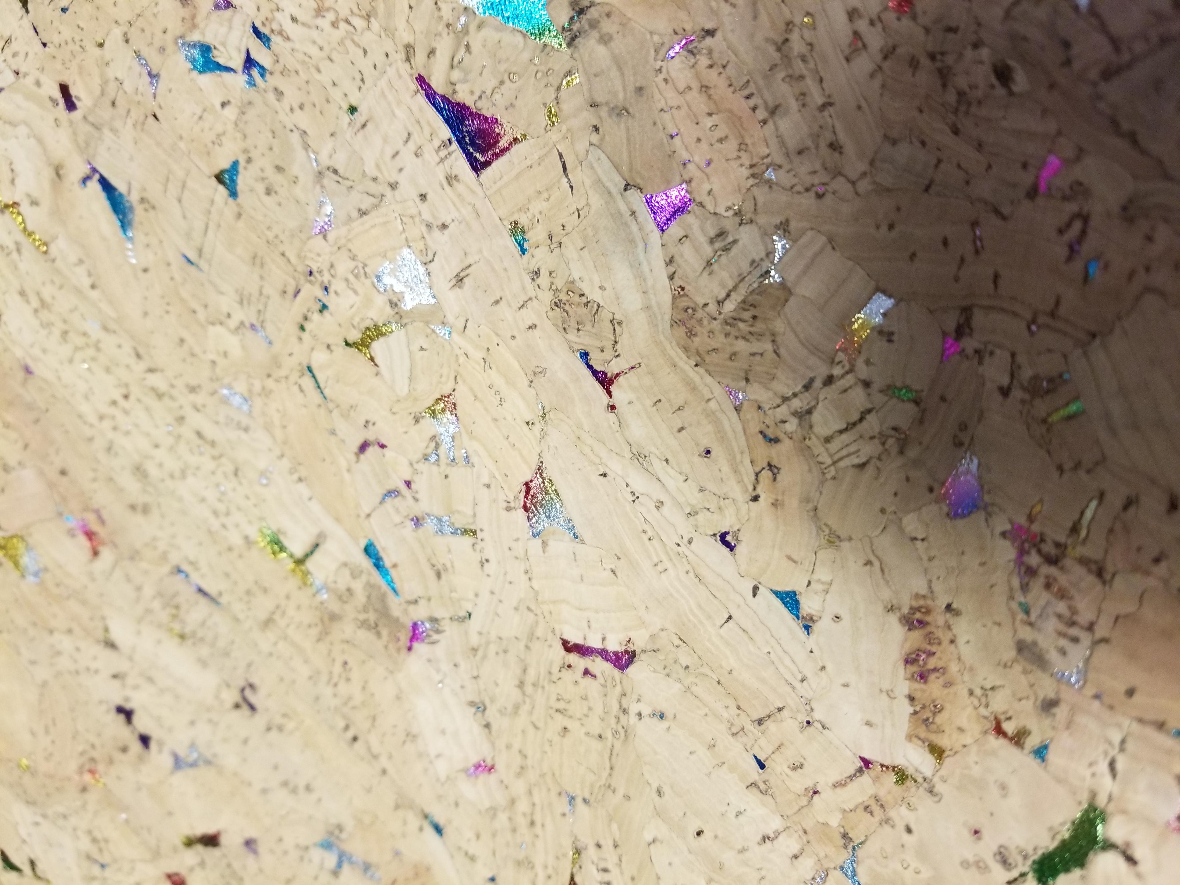Natural cork fabric with rainbow flecks Portuguese cork COP-333