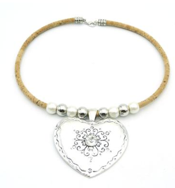Cork big heart necklace with sliver tube women