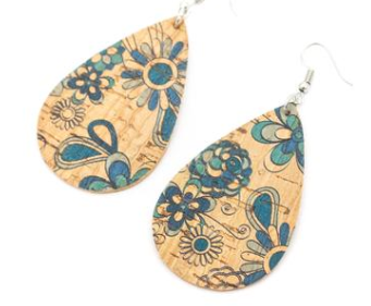 Blue print Natural softwood fabric handmade ladies earrings, stylish jewelry for women cork earring