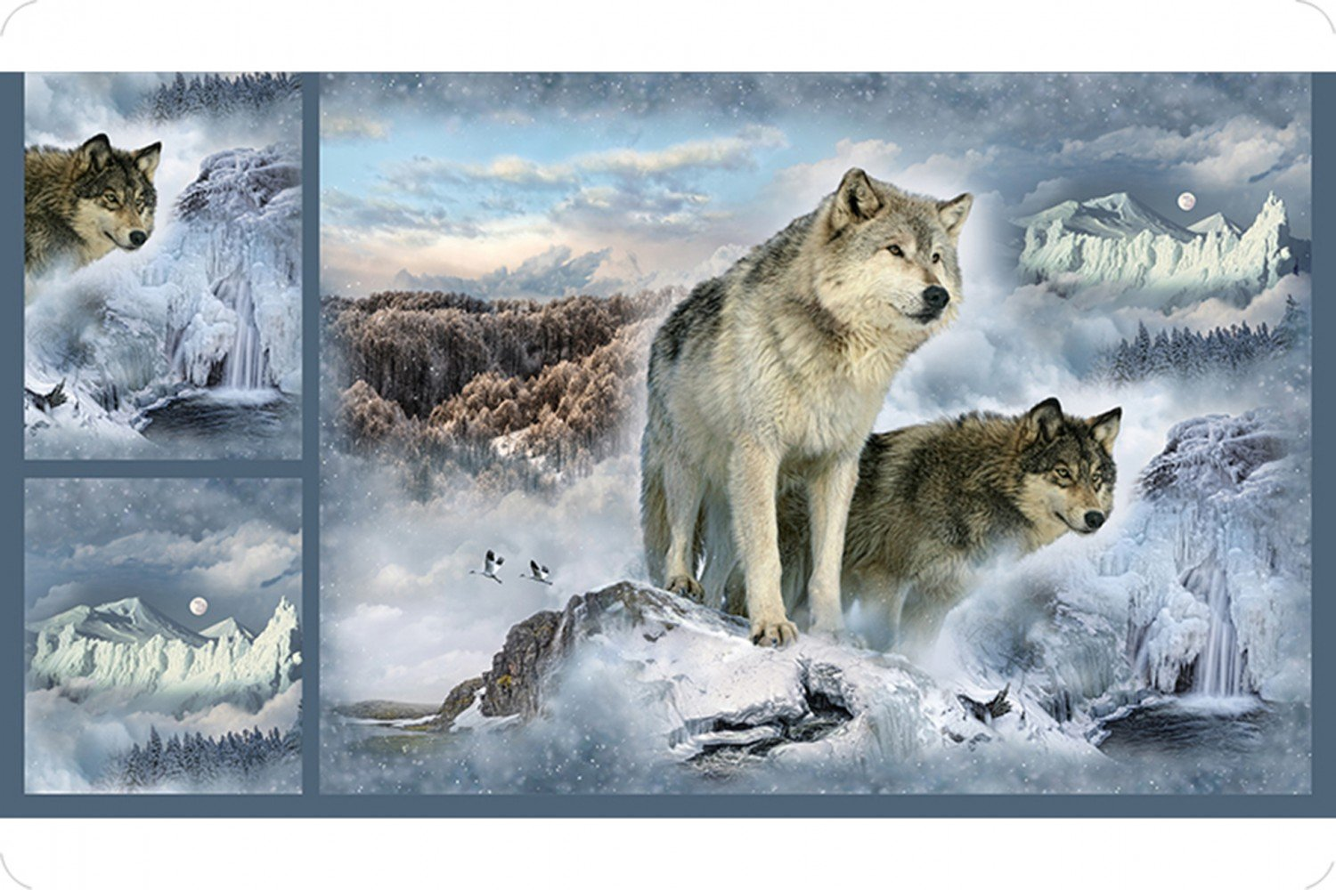 Hoffman Wolves Digital Cuddle 33inx45in Panel & 13inx17in Small Panels