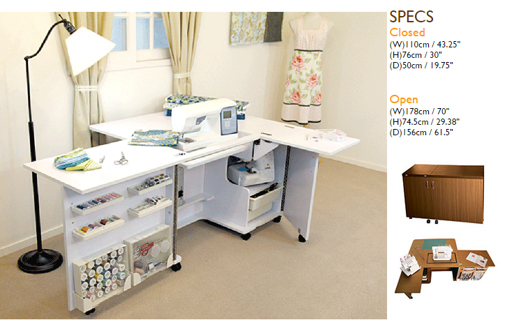 Eclipse Sewing Table- White