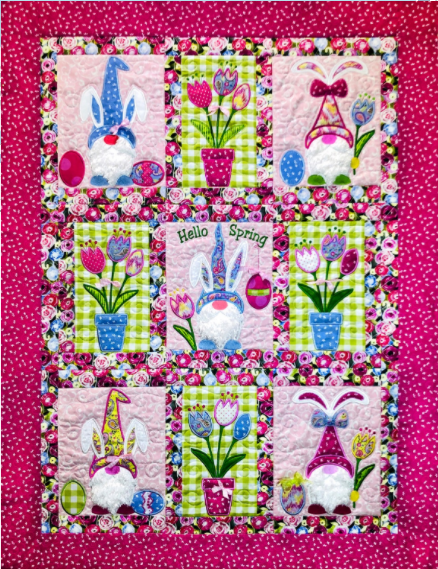 Hello Spring Bunny Gnome Quilt Kit
