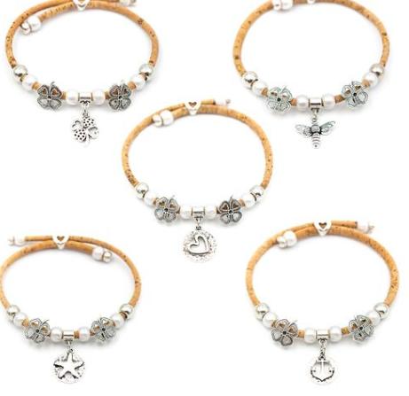 Natural cork bumble bee bracelet with Clover charm handmade friendship bracelet adjustable