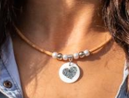 Shell heart Pendant Necklace handmade women cork necklace