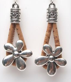 Portugal cork earrings antique sliver small flower women earrings handmade lady original dangle earrings