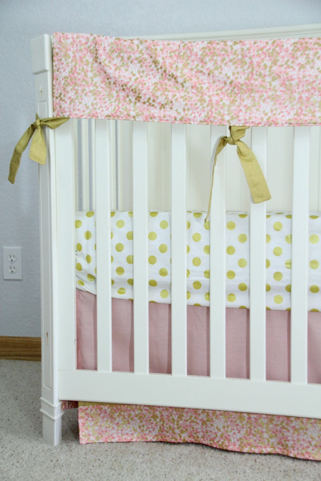 The Eloise Collection - Blush Pink, Peach, Coral and Metallic Gold Custom Crib Bedding Set
