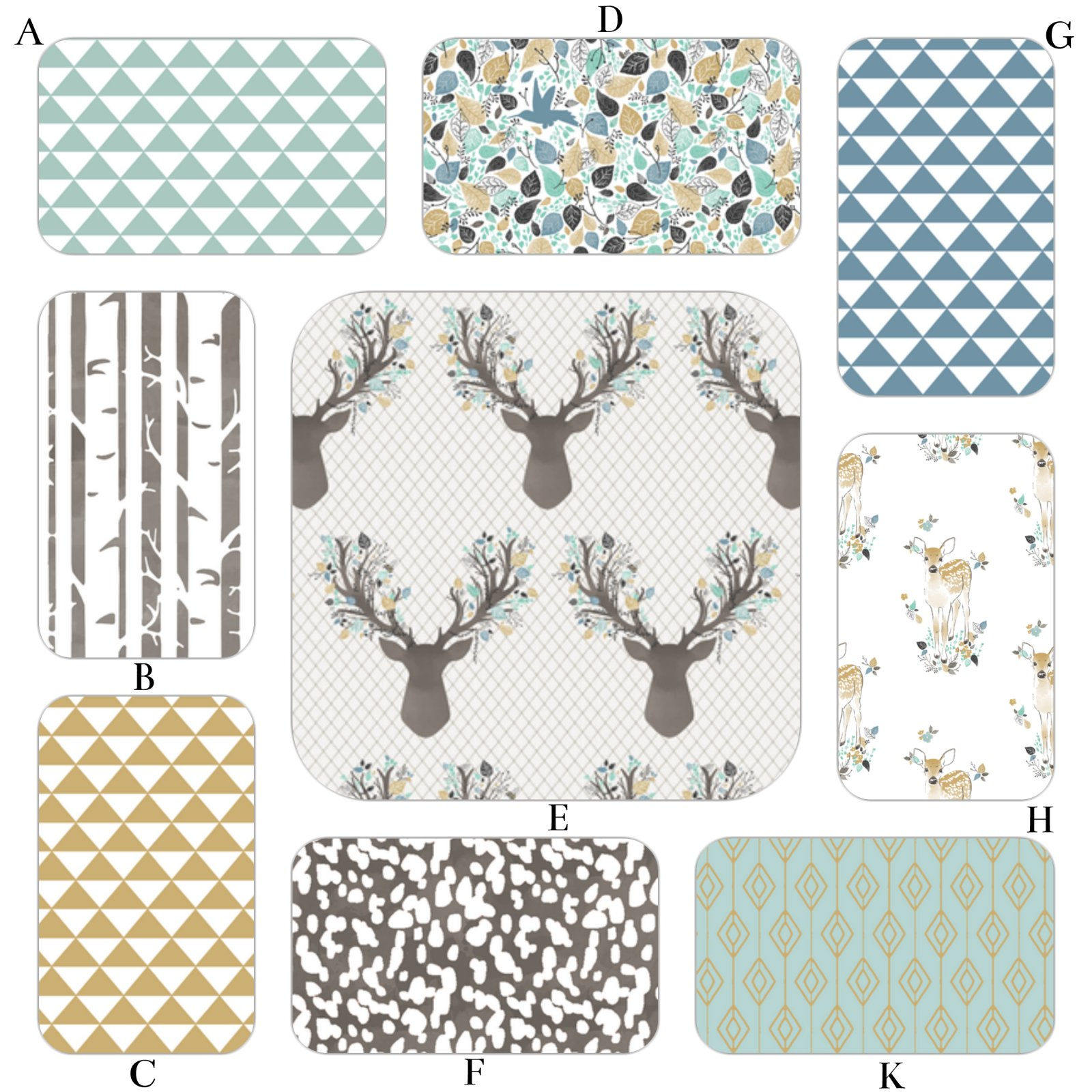 Fawn in Aspen - Baby Boy Woodland Bedding in Aqua and Charcoal