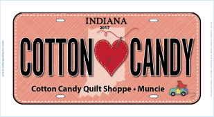 Cotton Candy Love Fabric License Plate