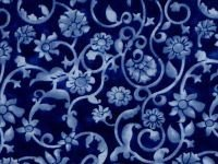 Wide Backing Remnant, Blue Flowers, 54 x 108