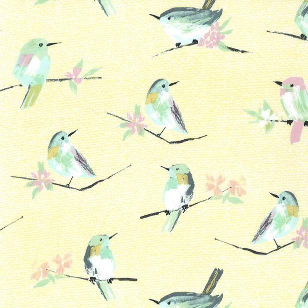 Bird Watch in Yellow by Michael Miller Fabrics