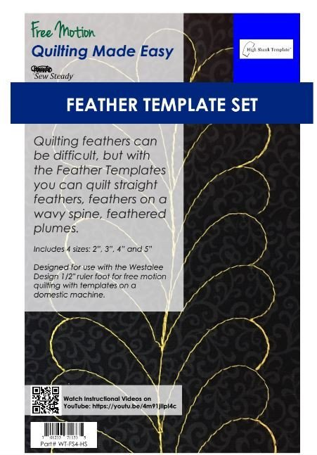 Set of Four Feather Templates for Long Arm Maches by Sew Steady for Westalee