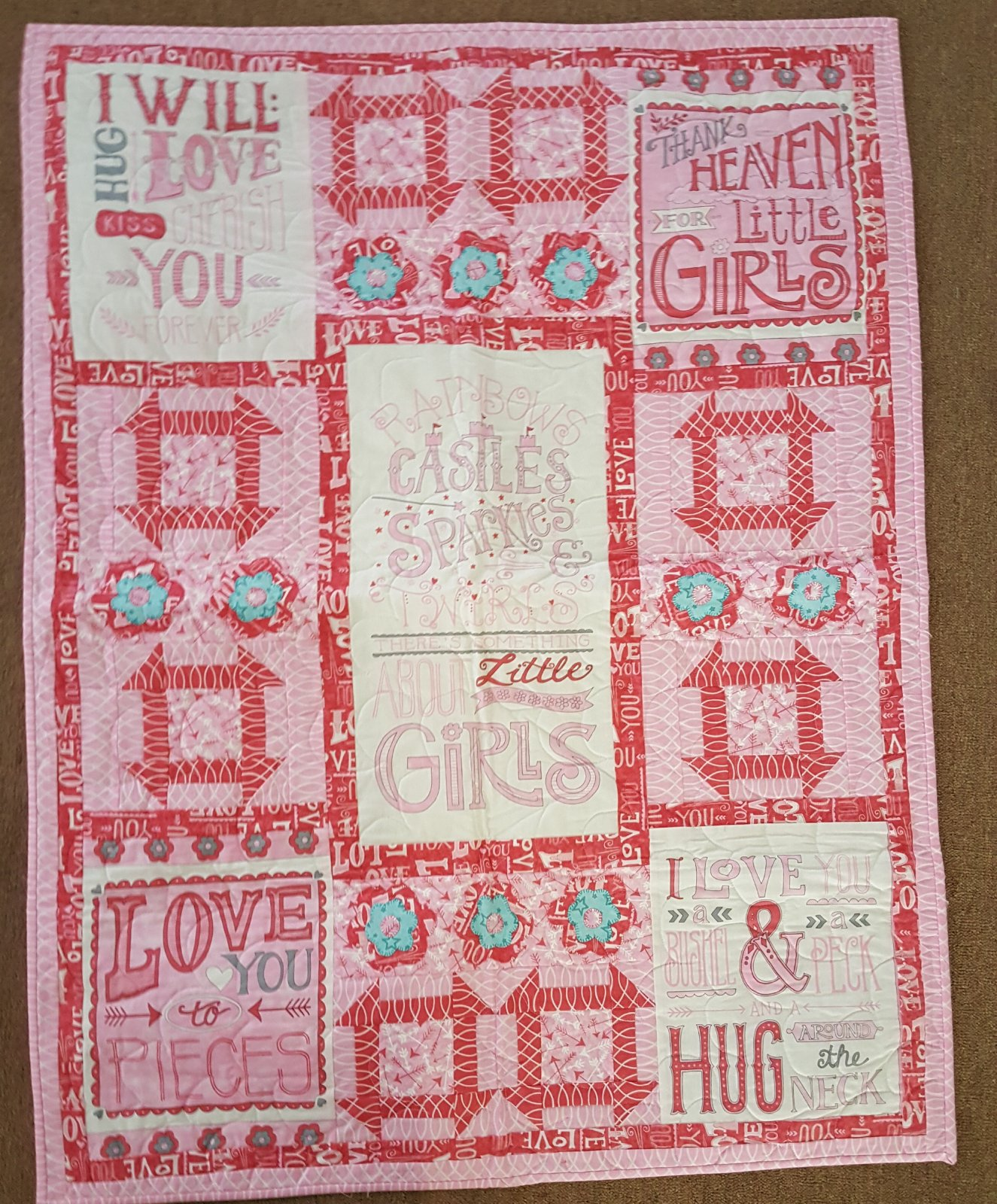 Hugaboo Baby Quilt in Pink, Fabric by Deb Strain for Moda