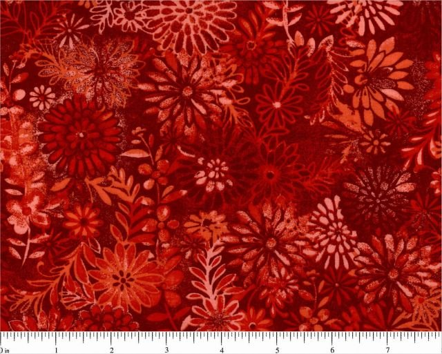 108 Red Tone on Tone Floral by Choice Fabrics