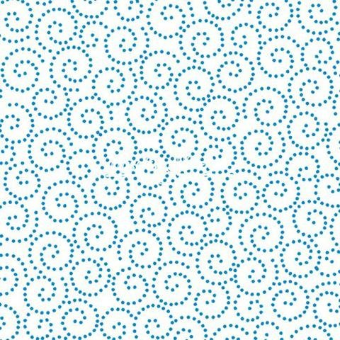 Tea Time Dotted Scroll Blue Yardage
