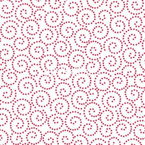 Tea Time Dotted Scroll Red Yardage