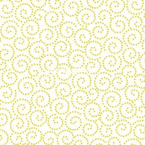 Tea Time Dotted Scroll Yellow Yardage