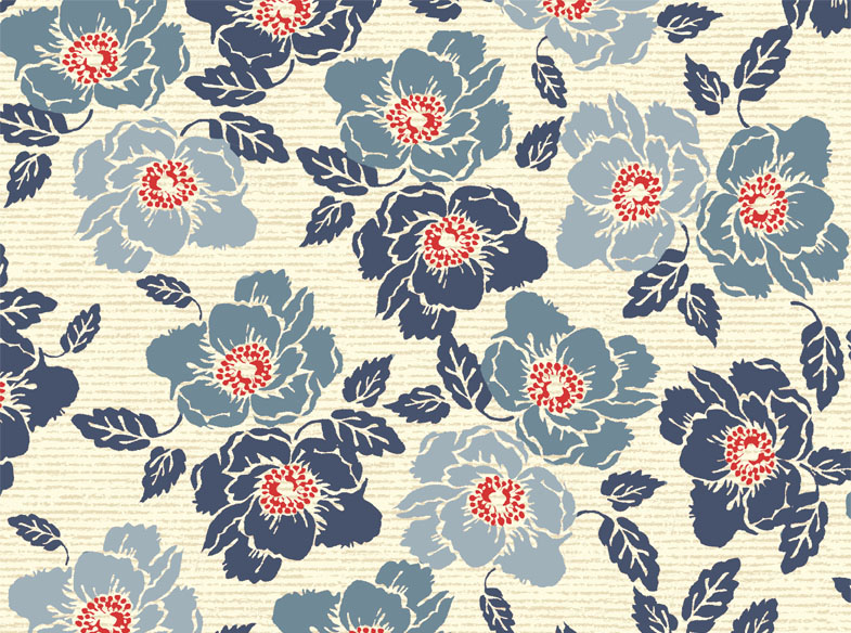Nantucket Floral Ecru and Denim Yardage