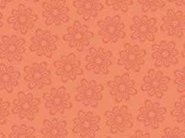 Daisy Garden Floral Dark Coral Yardage