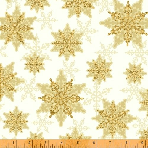 Holiday Magic Snow Flakes Gold Yardage