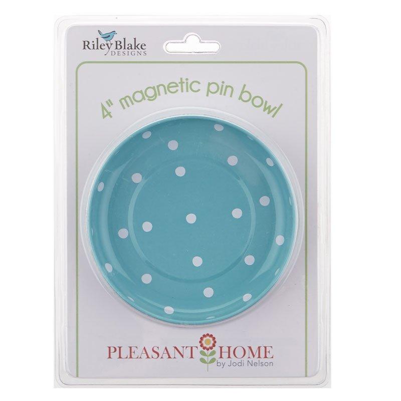 Magnetic Pin Bowl Aqua Polka Dots