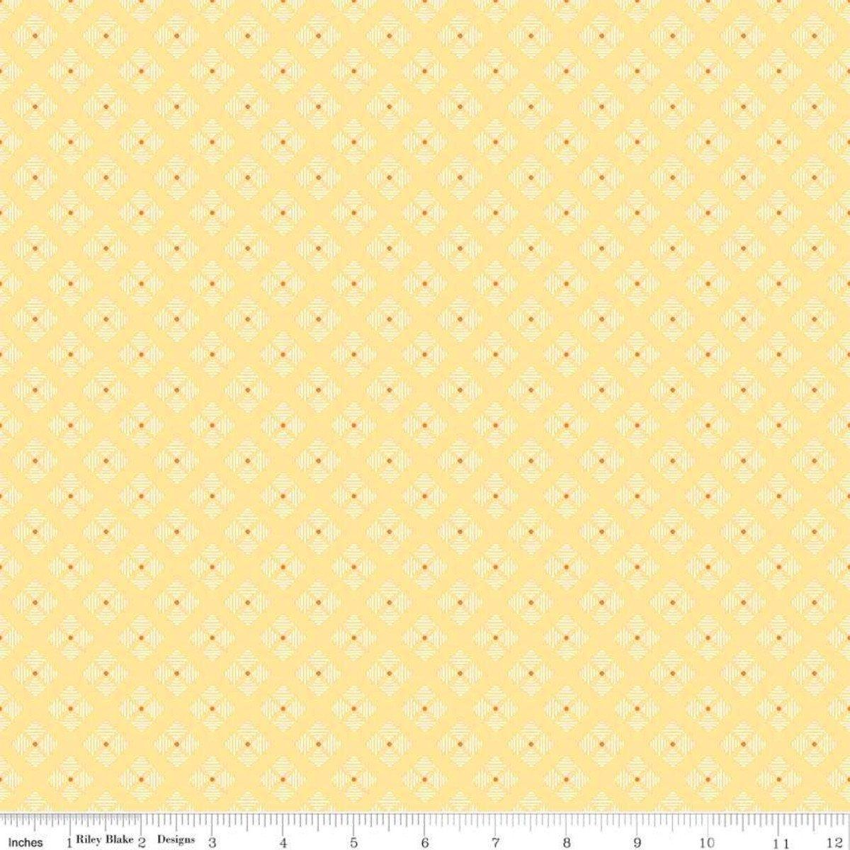 Bee Basics Stitched Flower Yellow Yardage