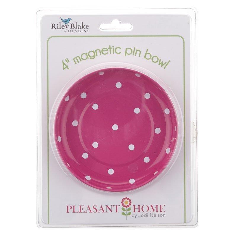 Magnetic Pin Bowl Hot Pink Polka Dots