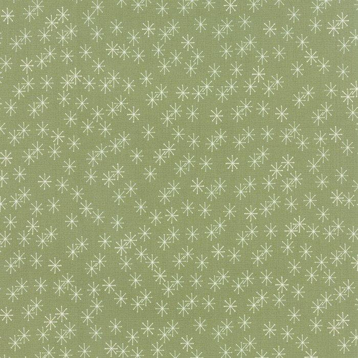 Mistletoe Lane Sage Snowflakes, 1/2 yard
