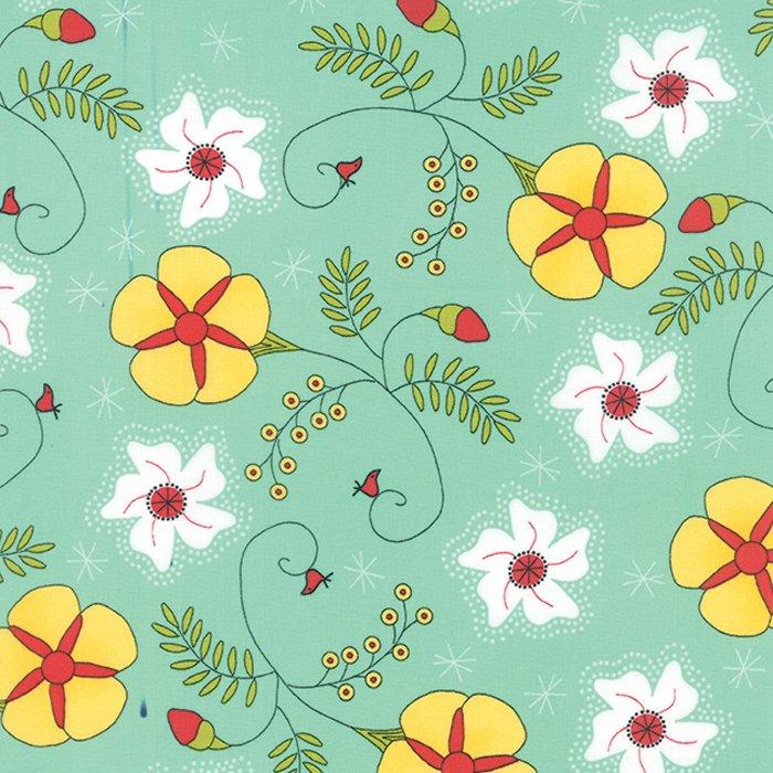 The Sweet Life Aqua Sky Cheery Blossoms Yardage