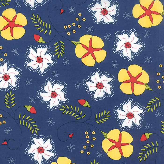 The Sweet Life True Blue Cheery Blossoms Yardage