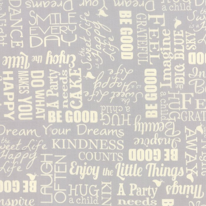 The Sweet Life Grey Cloud Sweet Sayings Yardage