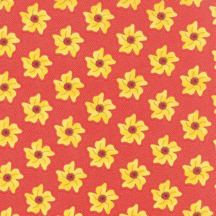 The Sweet Life Cheery Red Floral Pinwheels Yardage