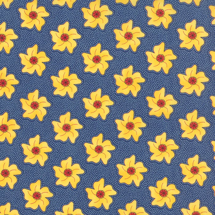 The Sweet Life True Blue Floral Pinwheels Yardage