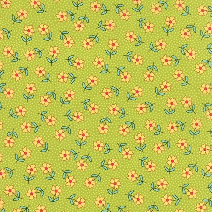 The Sweet Life Sappy Green Floral Dainty Daisy Yardage