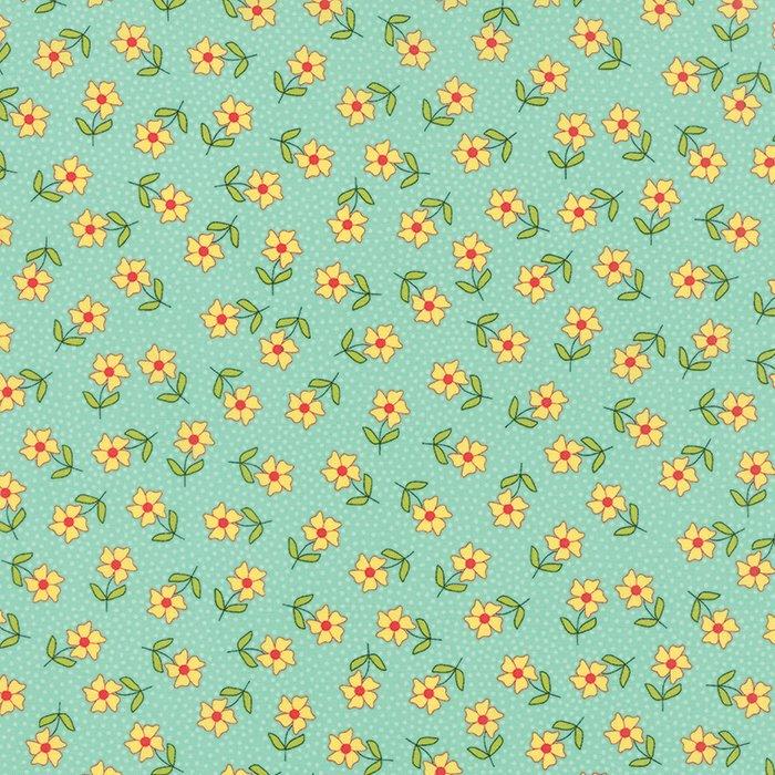 The Sweet Life Aqua Sky Floral Dainty Daisy Yardage