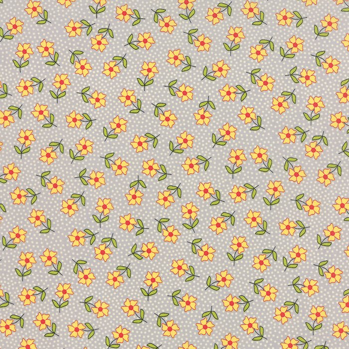 The Sweet Life Grey Cloud Floral Dainty Daisy Yardage