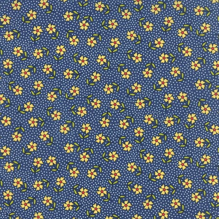 The Sweet Life True Blue Floral Dainty Daisy Yardage