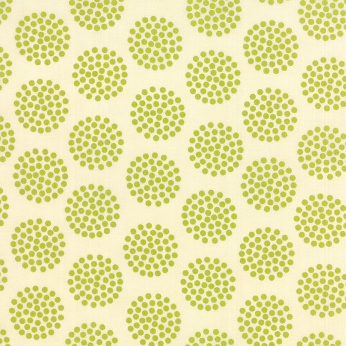 The Sweet Life Sappy Green Floral Dots Yardage