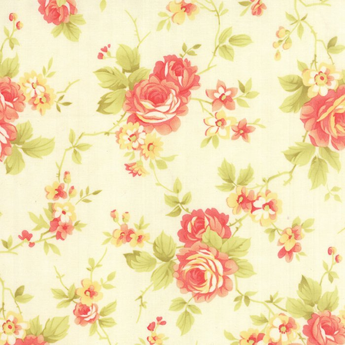 Farmhouse Floral Rose Milk Yardage