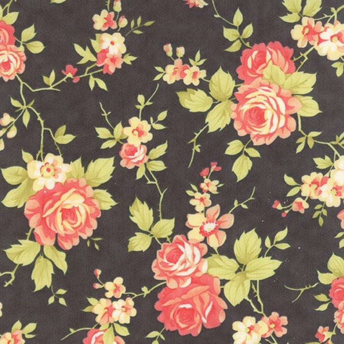 Farmhouse Floral Rose Midnight Yardage
