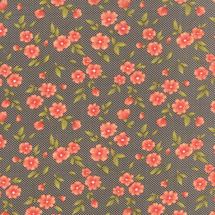 Farmhouse Gingham Blooms Midnight Yardage