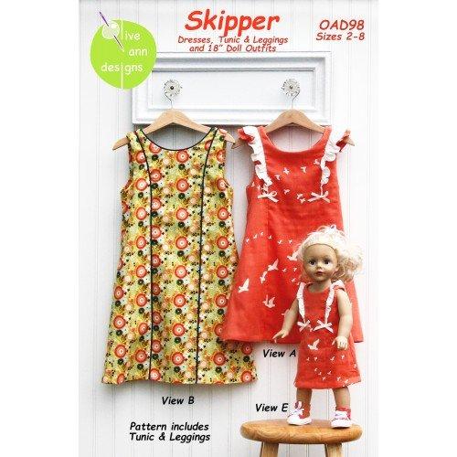 Skipper Dress, Tunic, Leggings & 18 Doll Outfits Pattern, sizes 2-8