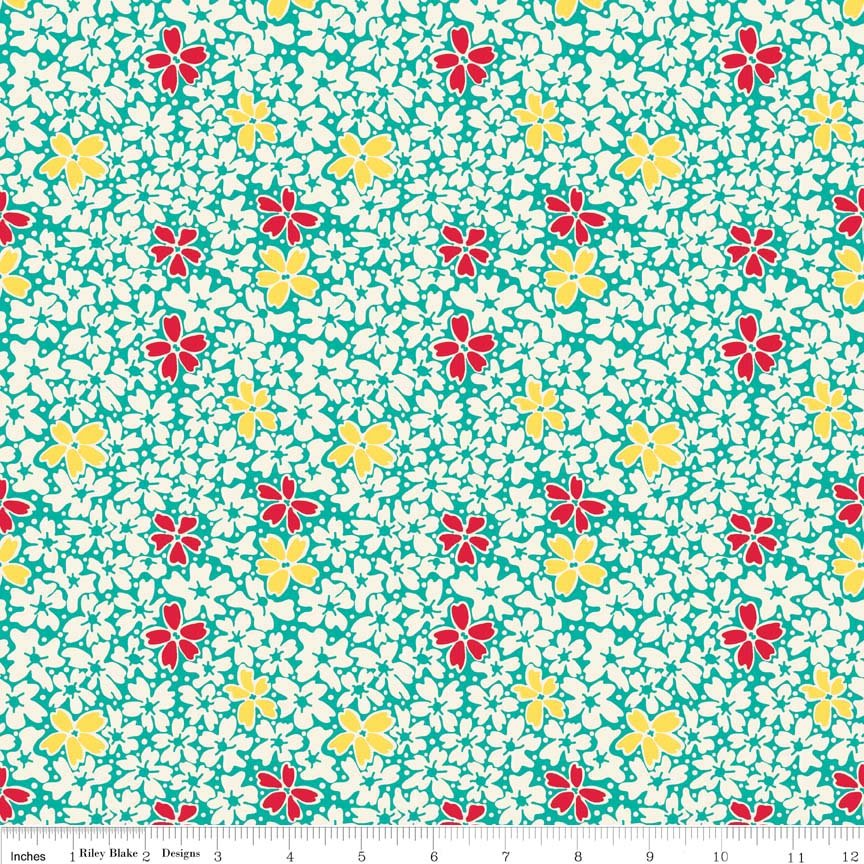 Hope Chest Floral Teal Yardage